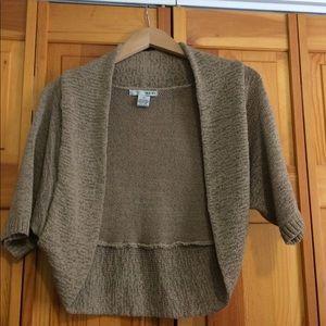 Sweaters - Tan short sleeve bolero sweater
